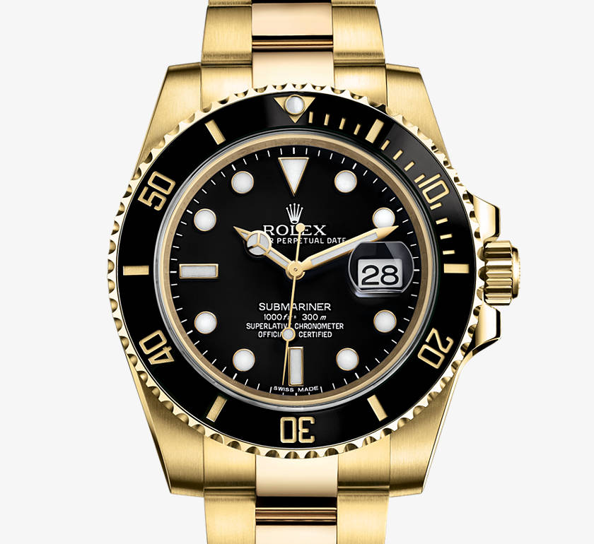 Rolex Oyster Perpetual Submariner in Black, 40mm, Yellow Gold with date function.