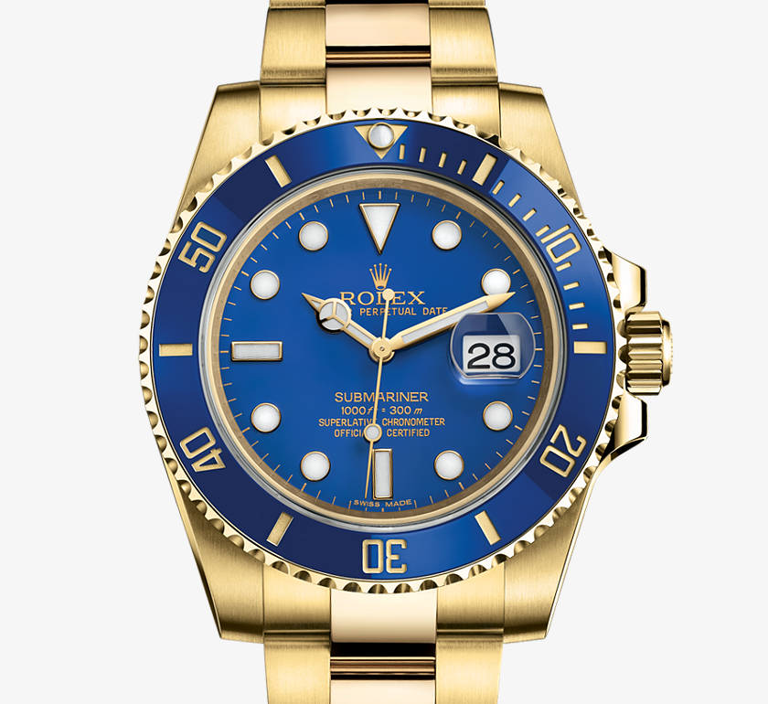 Rolex Oyster Perpetual Submariner in Blue, 40mm, Yellow Gold with date function.