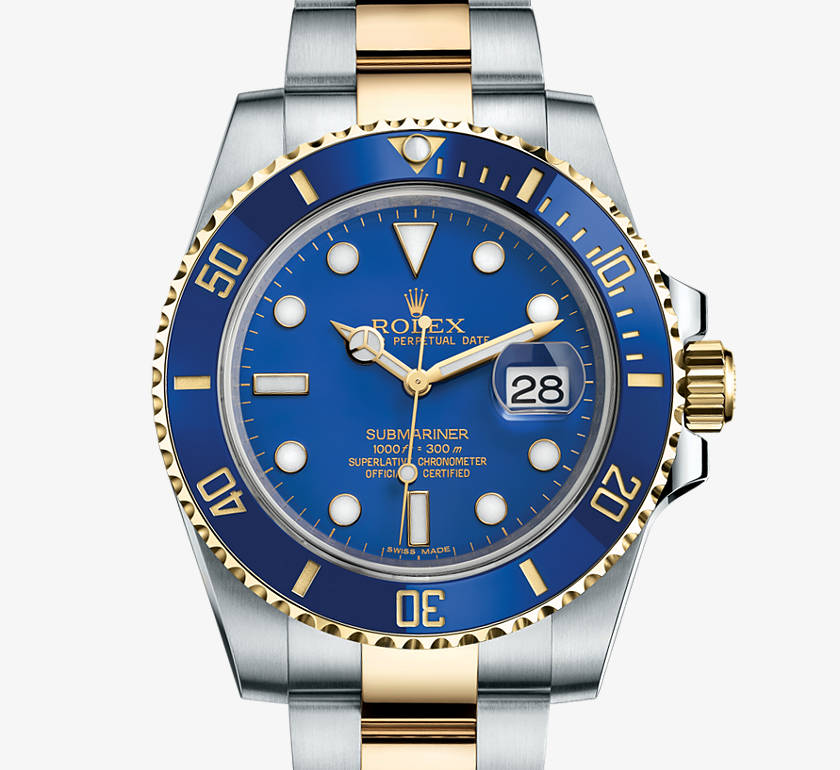 Rolex Oyster Perpetual Submariner in Blue, 40mm, Steel and Yellow Gold with date function.