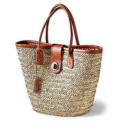 Land's End Straw Beach Tote